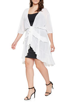 Plus Size Ruffled Mesh Cardigan - 3912074281040