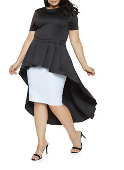 Plus Size Pleated High Low Top - 3912074281041