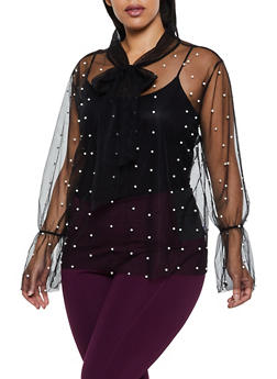 Plus Size Tie Neck Faux Pearl Studded Mesh Top - 3912074281133
