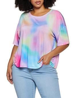 Plus Size Tie Dye Spandex Top - 3912074281252