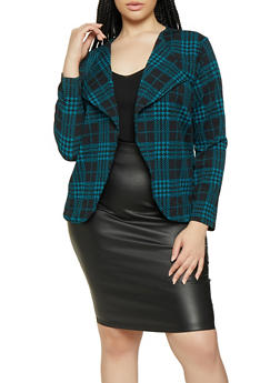 Plus Size Plaid Flyaway Blazer - 3912074282448