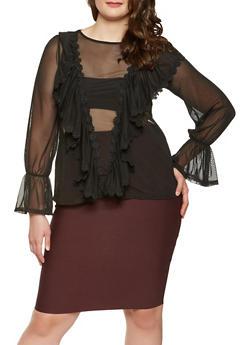 Plus Size Crochet Trim Ruffled Mesh Top - 3912074283050