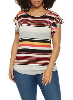 Plus Size Striped Flutter Sleeve Tee - 3912074283115