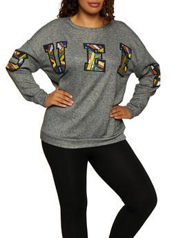 Plus Size Sequin Queen Patch Sweatshirt - 3912074283133