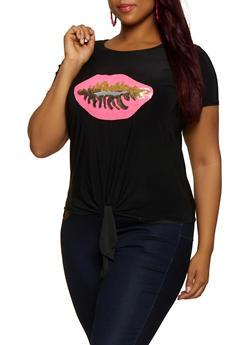 Plus Size Sequin Lip Tie Front Tee - 3912074283160
