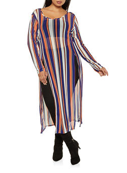 Plus Size Striped Maxi Top - 3912074283304