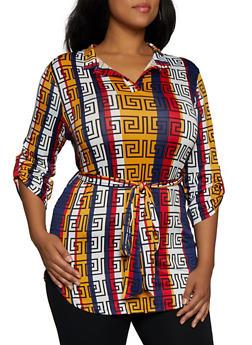Plus Size Geometric Print Tie Waist Tunic Top - 3912074283310