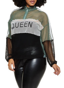 Plus Size Queen Color Block Fishnet Top - 3912074283329