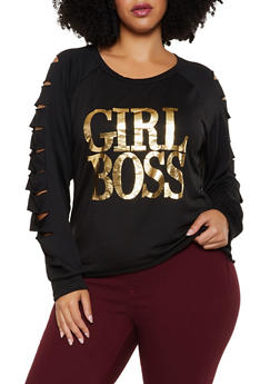 Plus Size Girl Boss Slashed Long Sleeve Top - 3912074283342