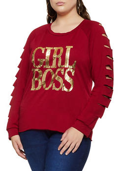 Plus Size Girl Boss Slashed Long Sleeve Top - 3912074283342