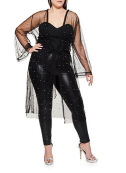 Plus Size Mesh Studded Duster - 3912074283346