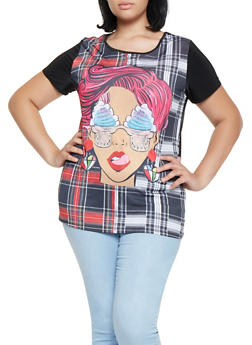 Plus Size Plaid Face Graphic Tee - 3912074283707