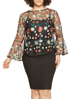 Plus Size Embroidered Mesh Top - 3912074284306