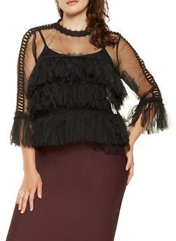 Plus Size Crochet Trim Mesh Top - 3912074284309