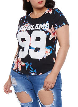 Plus Size 99 Problems Graphic Tee - 3912074285906
