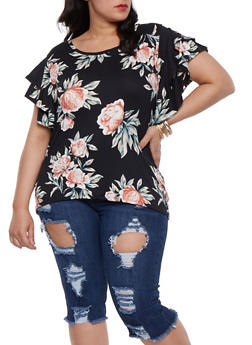 Plus Size Tiered Sleeve Floral Tee - 3912074285909