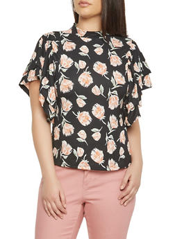 Plus Size Black Floral Tiered Sleeve Mock Neck Top - 3912074285911