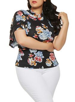 Plus Size Floral Dolman Sleeve Top - 3912074285912