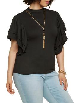 Plus Size Soft Knit Mock Neck Top - 3912074285913