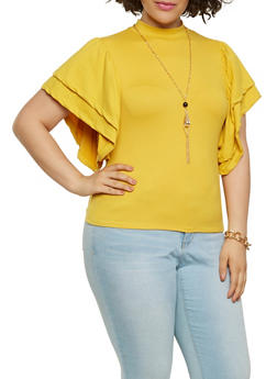 Plus Size Soft Knit Mock Neck Top - 3912074285913