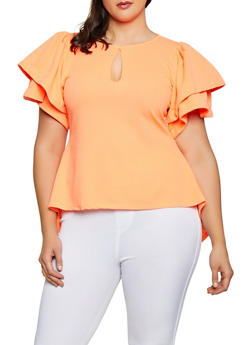 Plus Size Keyhole Textured Knit High Low Top - 3912074286010