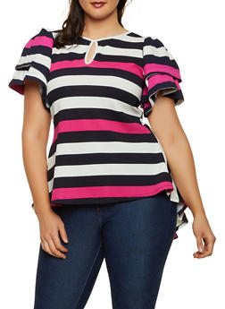 Plus Size Striped Crepe Knit High Low Top - 3912074286011
