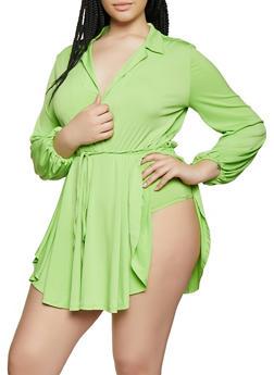 Plus Size Ruffle Overlay Faux Wrap Bodysuit - 3912074286303