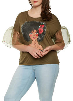 Plus Size Graphic Organza Sleeve Tee - 3912074287107