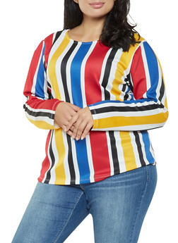 Plus Size Striped Scuba Knit Top - 3912074287110