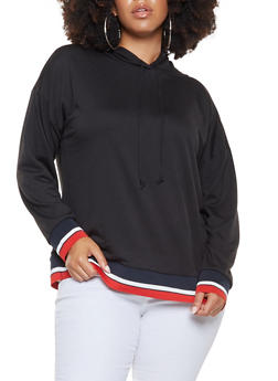Plus Size Striped Tape Trim Hooded Sweatshirt - 3912074287111