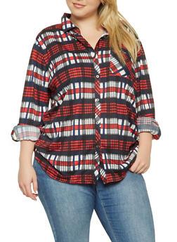 Plus Size Plaid Button Front Shirt - 3912074287112