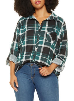 Plus Size Plaid Button Front Shirt - 3912074287113