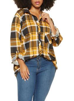 Plus Size Plaid Button Front Shirt - 3912074287113