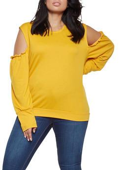 Plus Size Cold Shoulder Sweatshirt - 3912074287121