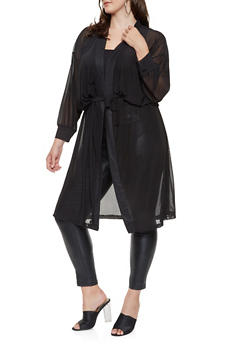 Plus Size Belted Mesh Duster - 3912074287123