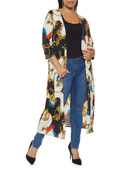 Plus Size Printed Duster - 3912074287127