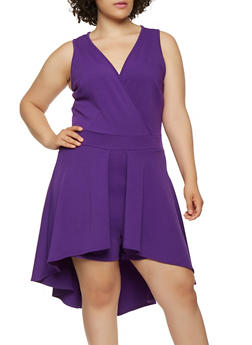 Plus Size Sleeveless High Low Peplum Romper - 3912074288840