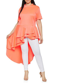 Plus Size Neon High Low Peplum Top - 3912074289032