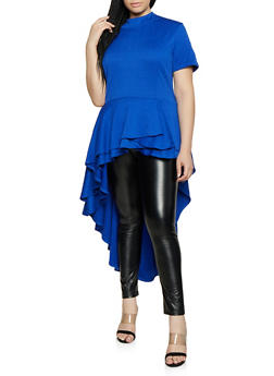 Plus Size Textured Knit High Low Top - 3912074289036