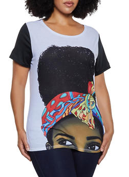 Plus Size Color Block Face Graphic Tee - 3912074289041