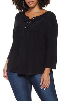 Plus Size Lace Up Crochet Trim Sweater - 3912074540174