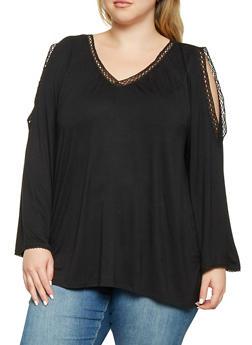 Plus Size Crochet Trim Split Sleeve Top - 3912074540194