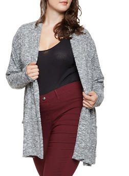 Plus Size Brushed Knit Cardigan - 3912074540333