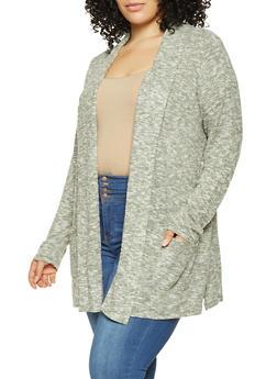 Plus Size Brushed Knit Cardigan - 3912074540333