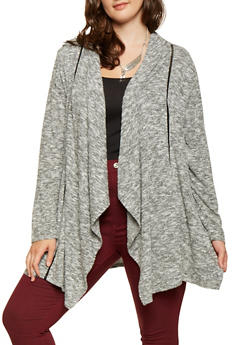 Plus Size Crochet Trim Cardigan - 3912074540334