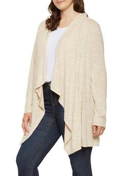 Plus Size Crochet Trim Cardigan - 3912074540334