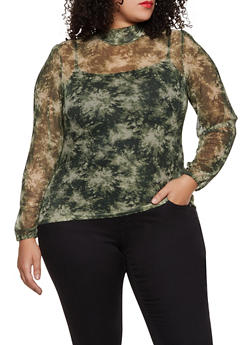 Plus Size Printed Mesh Mock Neck Top - 3912075174186
