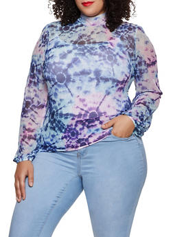 Plus Size Printed Mesh Mock Neck Top - BLUE - 3912075174186