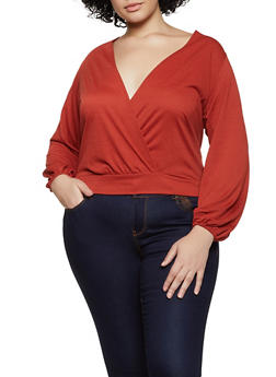 Plus Size Faux Wrap Tie Back Top - 3912075174251