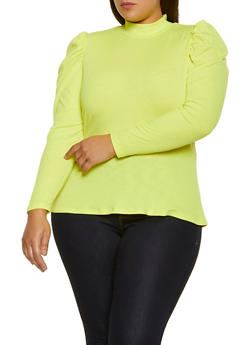Plus Size Mock Neck Ribbed Peplum Top - 3912075174331